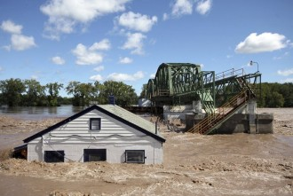 House submerged in water from Hurricane Irene